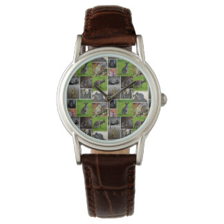 Australian Wildlife Collage, Brown Leather Watch