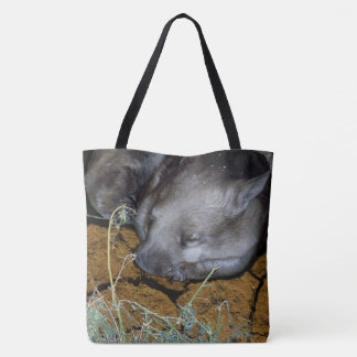 Australian Wombat Sleeping In His Burrow, Tote Bag