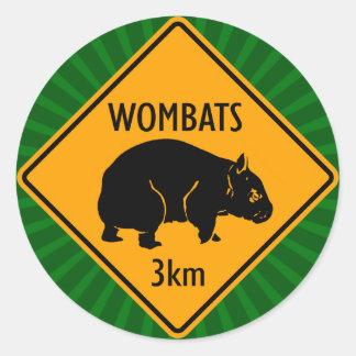 Australian Wombats Sign (pack of 6/20) Round Sticker