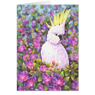 Australiana cockatoo tibouchina card