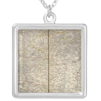 Austria Atlas Map Silver Plated Necklace