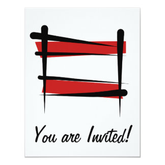 Austria Brush Flag 11 Cm X 14 Cm Invitation Card