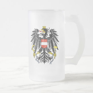 Austria Coat Of Arms Frosted Glass Beer Mug