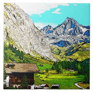 austria -drawing großglockner q tile