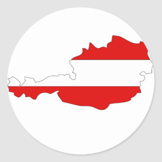 Austria flag map classic round sticker