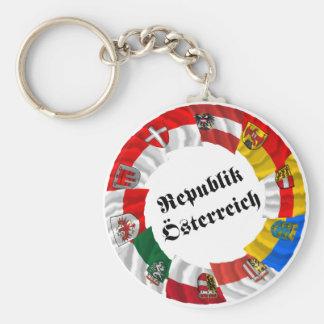 Austria & its Laender Waving Flags Basic Round Button Key Ring