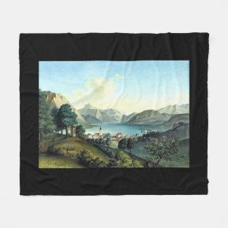 Austria Lake Town Alps Mountains Fleece Blanket