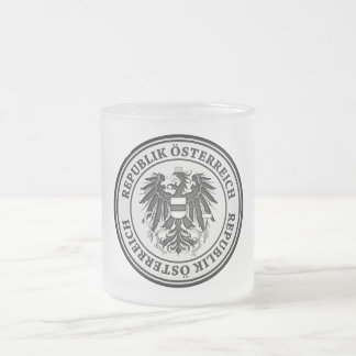 Austria Round Emblem Frosted Glass Coffee Mug