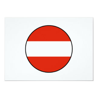 Austria Round Flag Bordered 13 Cm X 18 Cm Invitation Card