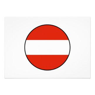 Austria Round Flag Bordered Custom Invites