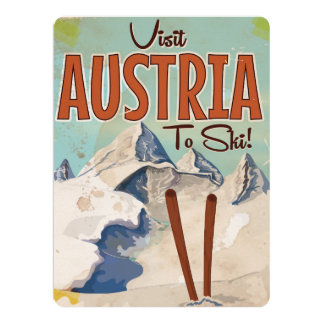 "Austria Skiing Vintage travel poster 6.5"" X 8.75"" Invitation Card"