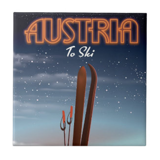 Austria To Ski - Winter ski travel poster to the A Tile