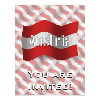 Austria Waving Flag 11 Cm X 14 Cm Invitation Card
