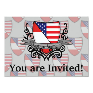 Austrian-American Shield Flag 13 Cm X 18 Cm Invitation Card