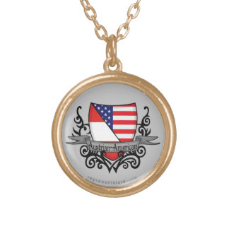 Austrian-American Shield Flag Round Pendant Necklace
