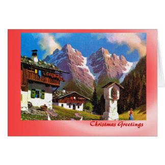 Austrian Christmas, Bildstock Tirolean village Greeting Card