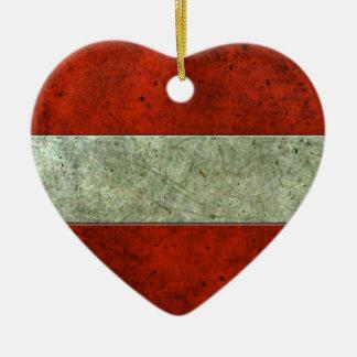 Austrian Flag Aged Steel Effect Ornaments
