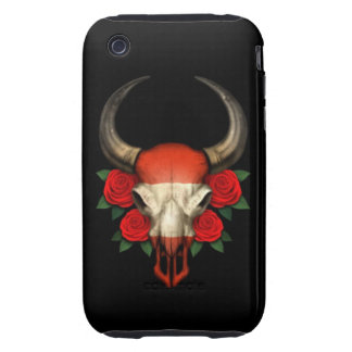 Austrian Flag Bull Skull with Red Roses Tough iPhone 3 Cover