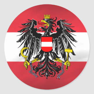 Austrian Flag & Coat of Arms Round Sticker