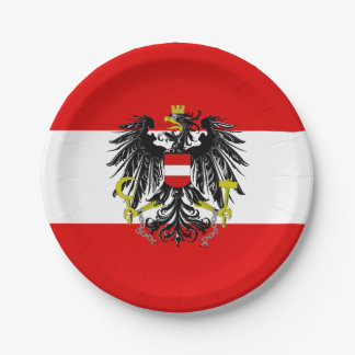 Austrian flag paper plate