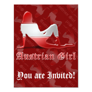 Austrian Girl Silhouette Flag 11 Cm X 14 Cm Invitation Card