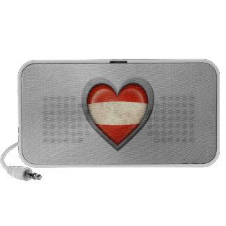 Austrian Heart Flag Stainless Steel Effect Travel Speaker