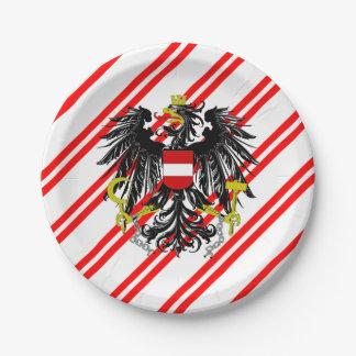 Austrian stripes flag paper plate