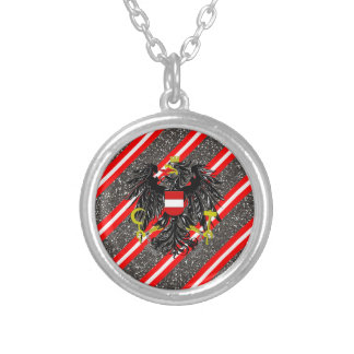 Austrian stripes flag silver plated necklace