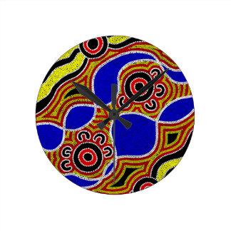 Authentic Aboriginal Art Round Clock