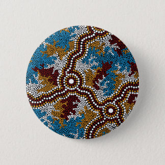 Authentic Aboriginal Art Wetland Dreaming 6 Cm Round Badge