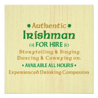 Authentic Irishman For Hire Funny Poster