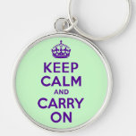 Authentic Keep Calm And Carry On Purple best price Keychains