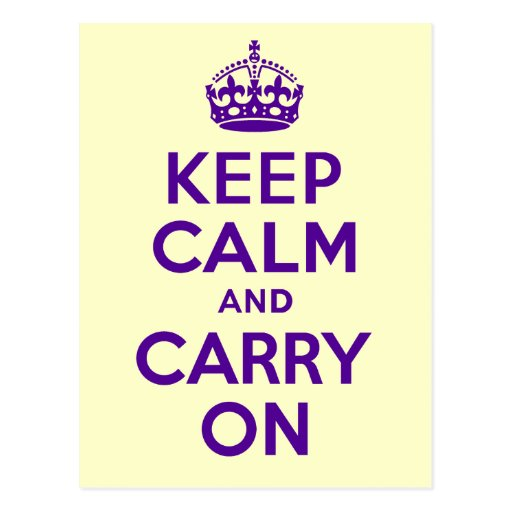 Authentic Keep Calm And Carry On Purple best price Post Card