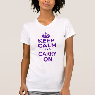 Authentic Keep Calm And Carry On Purple Best Price Tee Shirts
