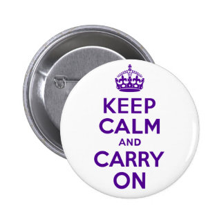 Authentic Keep Calm And Carry On Purple Buttons