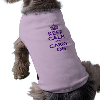 Authentic Keep Calm And Carry On Purple Doggie Tee