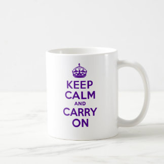 Authentic Keep Calm And Carry On Purple Classic White Coffee Mug