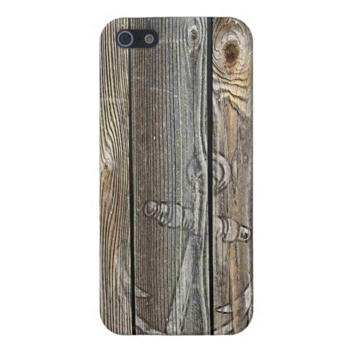 AUTHENTIC LOOKING OLD WOOD WITH ANCHOR CASE FOR iPhone 5/5S