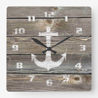 Authentic looking Wood Rustic Nautical Anchor Wall Clock