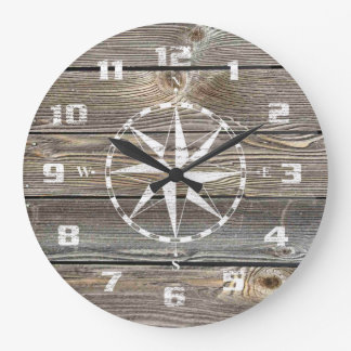 Authentic looking Wood Rustic Nautical Compass Large Clock