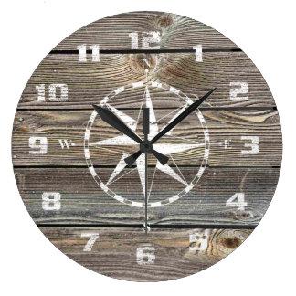 Authentic looking Wood Rustic Nautical Compass Wallclocks
