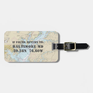 Authentic Nautical Chart: Baltimore MD Bag Tag