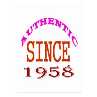 Authentic Since 1958 Birthday Designs Postcard