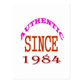 Authentic Since 1984 Birthday Designs Postcard