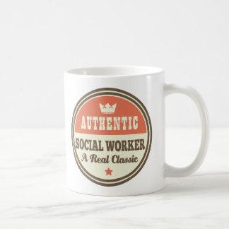 Authentic Social Worker Vintage Gift Idea Basic White Mug