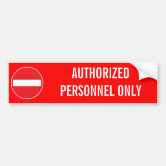 AUTHORIZED PERSONNEL ONLY BUMPER STICKER