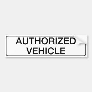 Authorized Vehicle Bumper Sticker