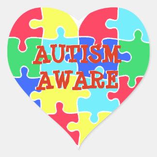 Autism Aware Heart Puzzle Pieces Sticker
