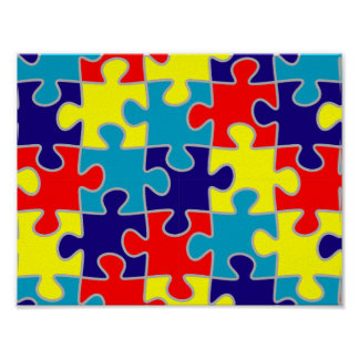 Autism Awareness ASD Aspergers Puzzle Pattern Poster