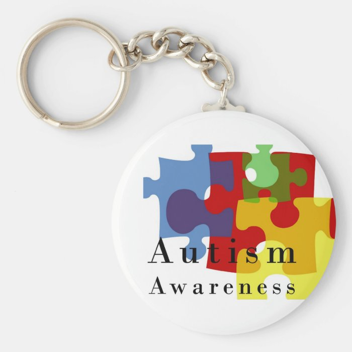 Autism Awareness Basic Round Button Key Ring